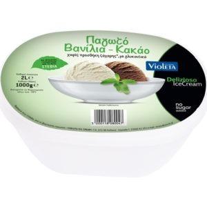 Premium Οικογενειακό Παγωτό Βανίλια-Κακάο με Στέβια